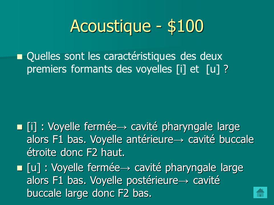 Acoustique - $100 Quelles sont les caractéristiques des deux premiers formants des voyelles [i] et [u]